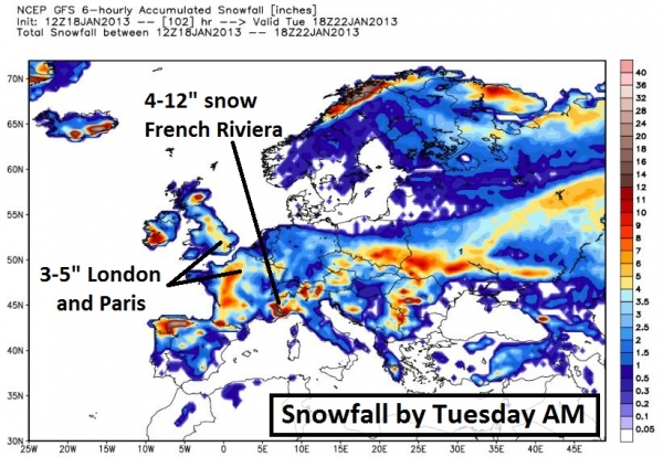 Snow Map Europe.Dangerous Cold Conditions Coming For Northern Tier States